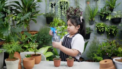 Girl spraying water on the plant