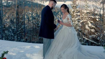 Bride and Groom in Winter in Nature