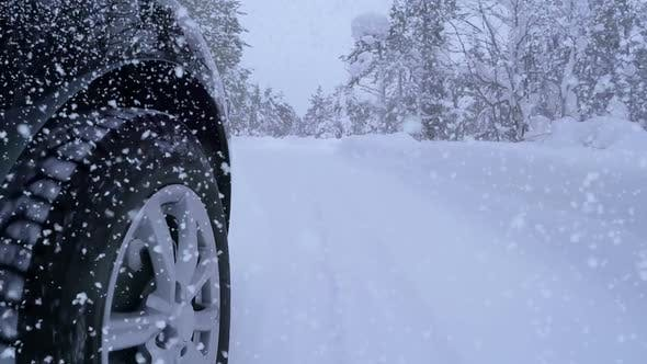 Thumbnail for Snowfall and Driving on Winter Forest Road