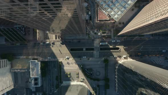 AERIAL: Slow Lowering Birds Eye View Flight Over Downtown Los Angeles California Grand Avenue in