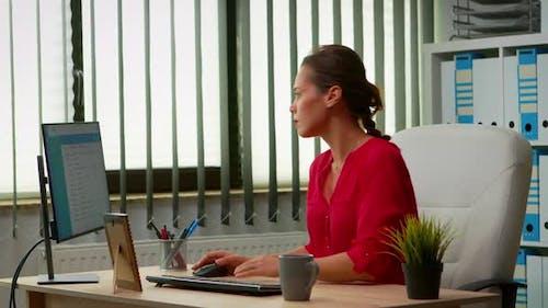 Lady Working in Modern Office