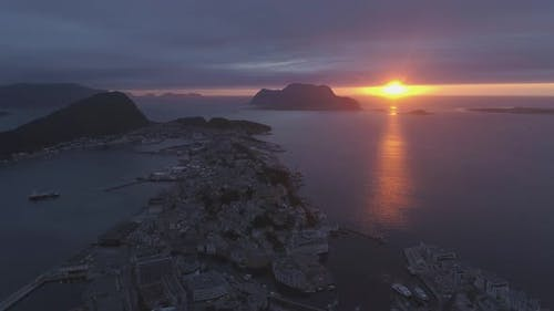 Alesund Town In Norway at Colorful Sunset
