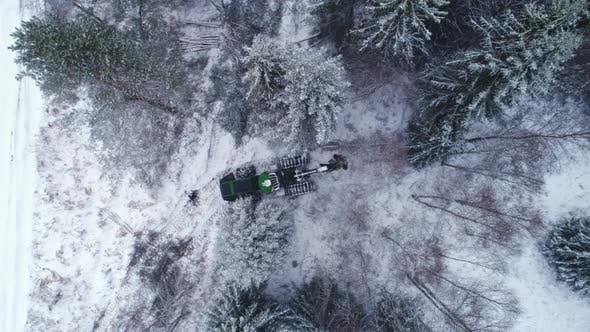 Thumbnail for Harvester Moving in Forest Aerial Shot