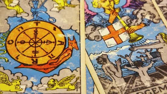 Thumbnail for Set Of Old Tarot Cards Lying Scattered 06b