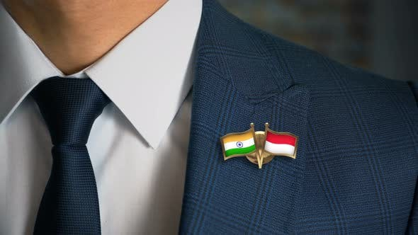 Businessman Friend Flags Pin India Monaco