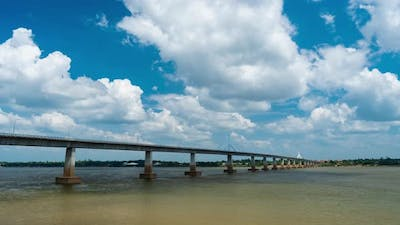 time lapse of The Second Thai–Lao Friendship Bridge in Mukdahan, Thailand