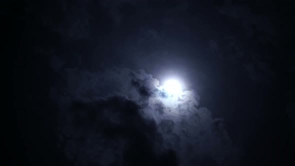 Thumbnail for Full Moon at Night with Bright and Dark Clouds. Spooky, Horror Concept