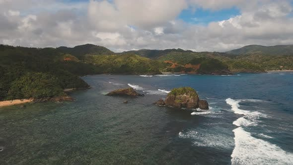 Thumbnail for Seascape with Tropical Island, Rocks and Waves. Catanduanes, Philippines