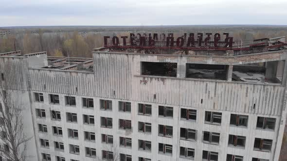 Chernobyl Exclusion Zone. Pripyat. Aerial. Abandoned City Building