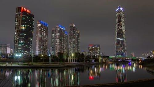 Incheon, Korea Illumination Skyscrapers at Night