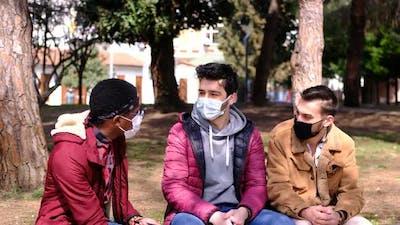 Triple Friend Talking at Park