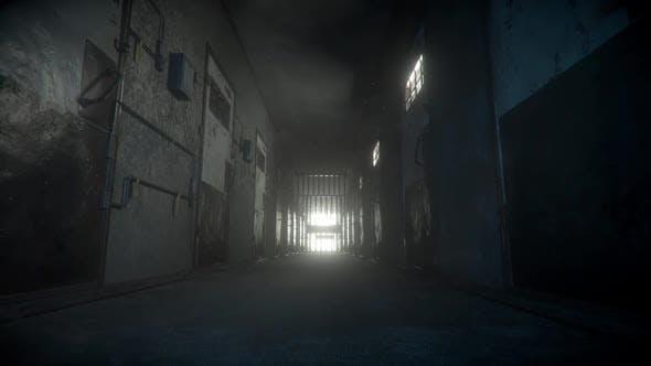 Gefängniskorridor leuchtet am Ende