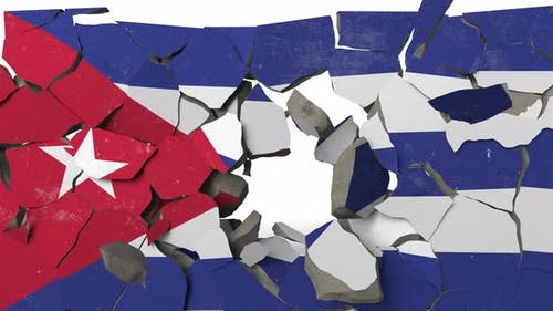 Breaking Wall with Painted Flag of Cuba