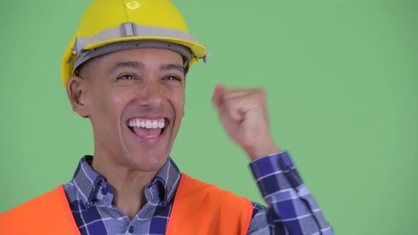 Thumbnail for Face of Happy Multi Ethnic Man Construction Worker Getting Good News