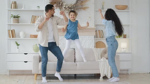 Spanish Family Dancing at Home Living Room