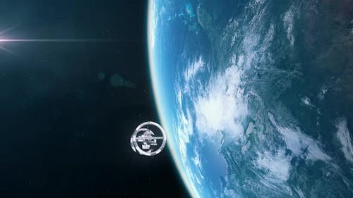 Futuristic Space Station in Orbit of Earth