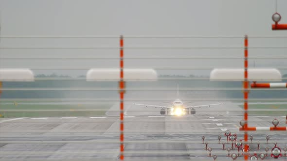 Cover Image for Airplane Departure at Rainy Weather