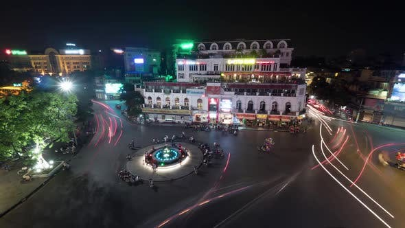 Timelapse of Night Traffic on Hanoi Central Square, Vietnam