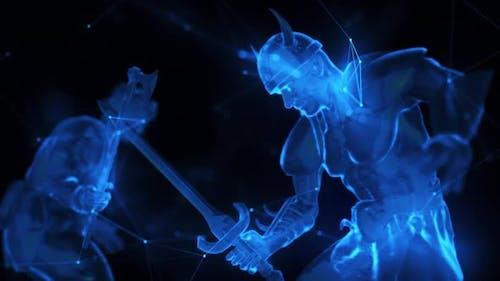 Digital Warrior Barbar Fights In Green Digital Cyber Space Time Travel