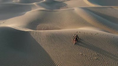 Woman is Posing in the Middle of the Desert Lying on Sand Great Sandy Desert