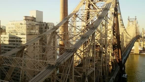 Thumbnail for Helicopter Aerial View of Urban City Metropolis Bridge