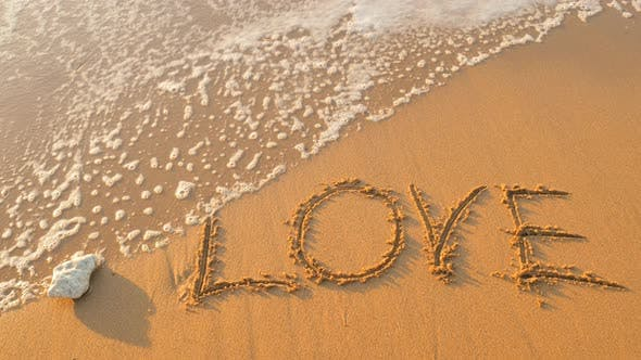 Love Word on the Sea Shore