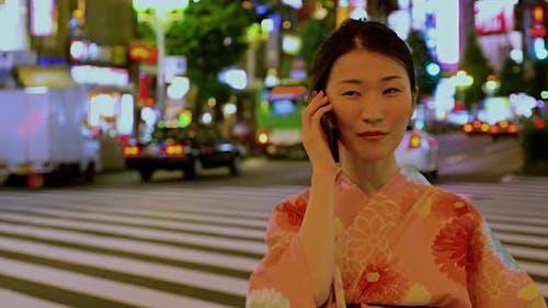 Japanische Frau Kimono Shinjuku Japan