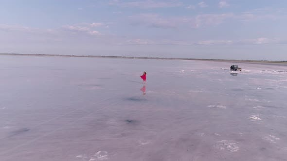 Thumbnail for Young Woman in a Red Flying Dress Is Walking on a Pink Salt Lake. Aerial View