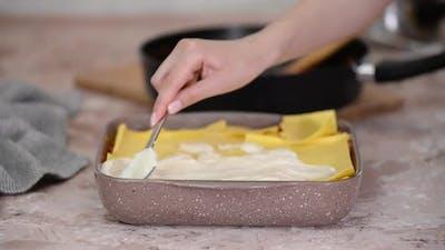 Preparing Lasagne Bolognese Italian Food