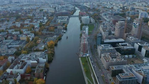 Spree River in Berlin, Germany Slow Tilt Up Revealing Cityscape Skyline and TV Tower on