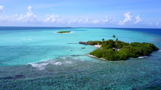 Thumbnail for Luxury drone island view of a white sandy paradise beach and aqua blue water background in colourful