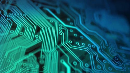3D Animation of Electronic Circuit Board Close Up
