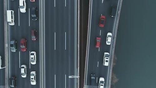 Aerial Top View of Highway Interchange