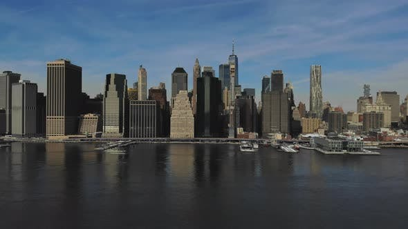 Aerial View of Lower Manhattan New York City Over the Hudson River
