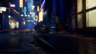 Bokeh Lights on Night Street in Asia