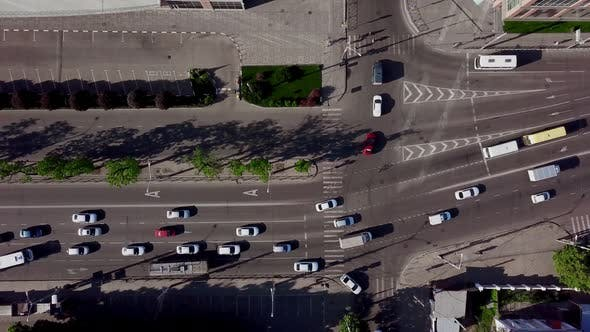 Thumbnail for Aerial Top Down Shot of a Traffic Jam on a Car Road Intersection in the Rush Hour.