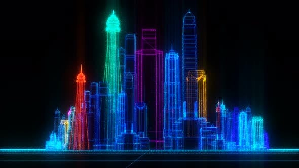 Thumbnail for Orbiting Futuristic Digital Colorful City Seamless Loop