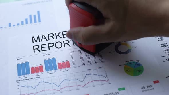 Thumbnail for Market Report Rejected, Hand Stamping Seal on Official Document, Statistics