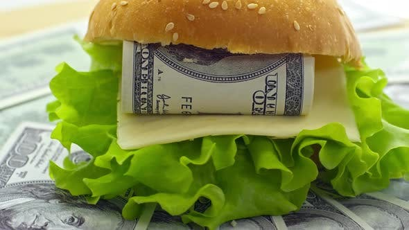Delicious Cheeseburger with Dollar Bill