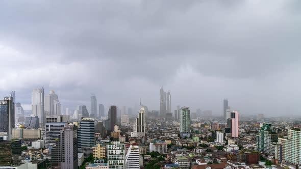 Bangkok business district city center during rain or rainstorm - Time Lapse