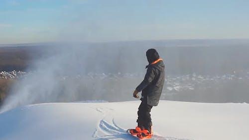 Alpine Snowboarded Executes a Dangerous Descend