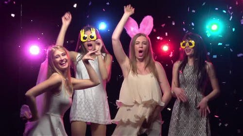 Girls at Bachelorette Party Dancing and Having Fun