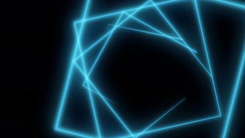 Blue flying triangular neon silhouettes
