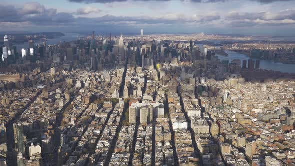 Cover Image for Cityscape of Manhattan at Sunny Day. Aerial View. New York City