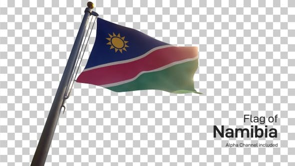 Namibia Flag on a Flagpole with Alpha-Channel
