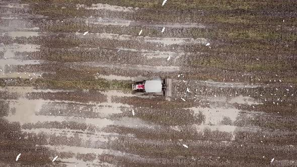 Thumbnail for Bird eye view descending tractor cultivate