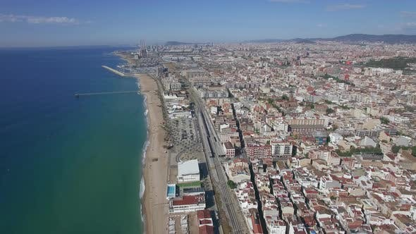 Thumbnail for Aerial View of Beach, Sea, Railways and Hotels, Barcelona, Spain