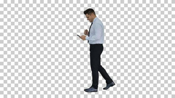 Thumbnail for Man Walking Looking on Phone and Making Win Gesture, Alpha Channel