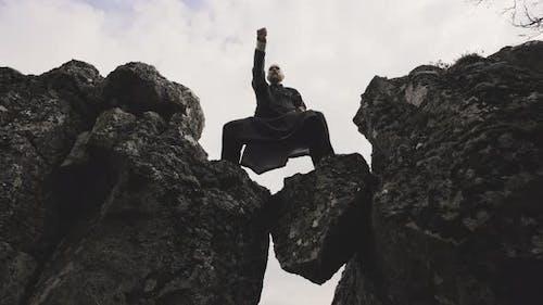Kung Fu Master Performing Karate On Rocks In Iceland