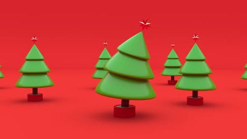 3d Christmas Tree Elements Holiday Party Concept Fir Dancing Endless Seamless Loop Happy New Year